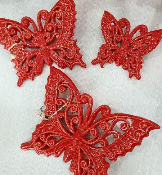 appendini a forma di farfalla in ceramica rossa