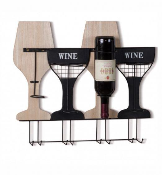 PORTABOTTIGLIE DA PARETE IN LEGNO E METALLO  Veramente unico questo portabottiglie da muro. Sotto le bottiglie è possibile anche appendere i bicchieri.