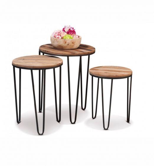 Tavolini industrial set da 3 pezzi