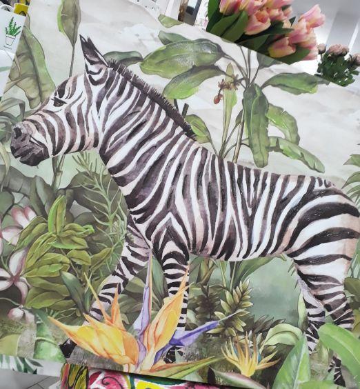 quadro con dettagli in rilievo zebra jungla