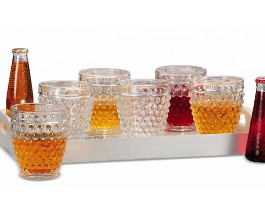 Set 6 bicchieri in vetro decorati linea Allen 32 cl