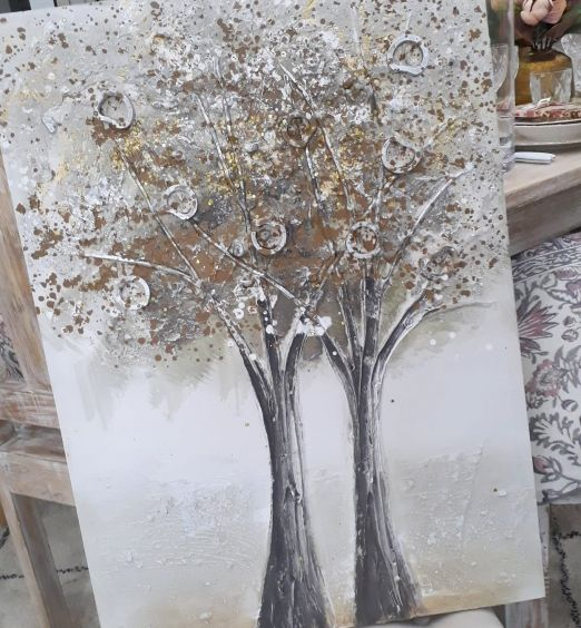 quadro in tela metrica alberi in rilievo