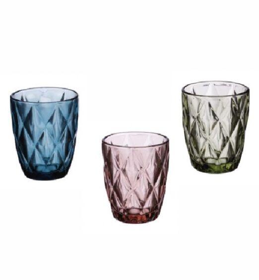 Bicchieri acqua in vetro in 3 colori
