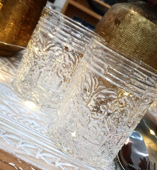 6 bicchieri decorati in vetro