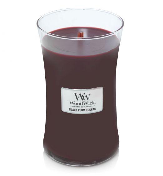 Woodwick giara grande Black Plum cognac
