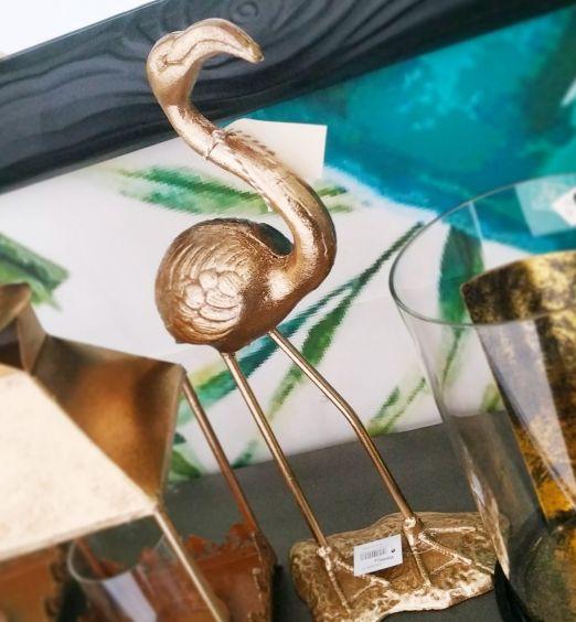 statua fenicottero decorativo oro