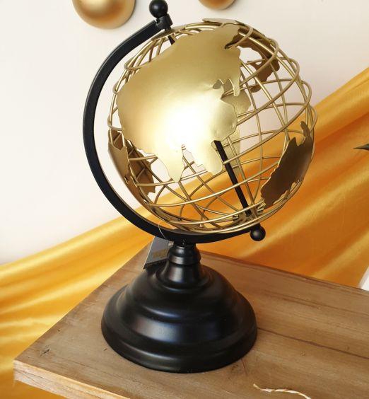 decorazione d'arredo mappamondo dorato