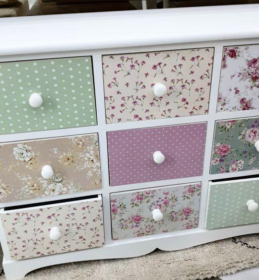 mobiletto in legno 9 cassetti colorati