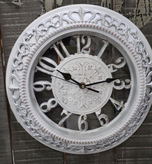 orologio da muro effetto shabby bianco