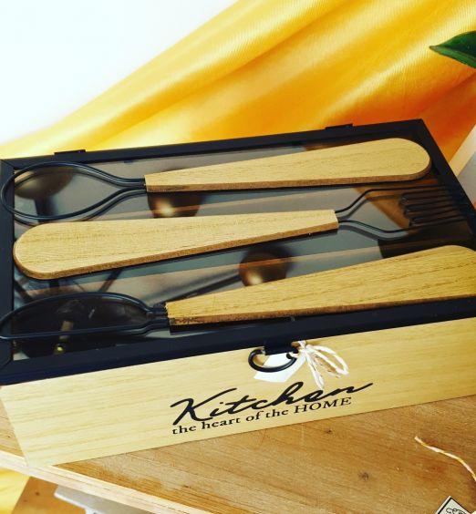 porta posate contenitore in legno