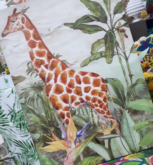 Dipinto stampato su tela metrica giraffa jungla