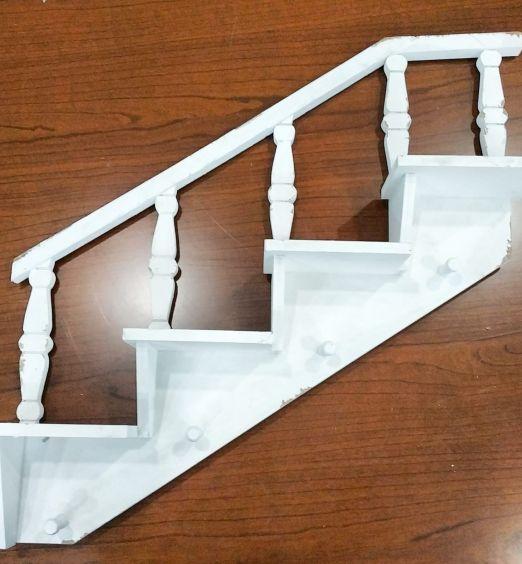 Scaletta in legno shabby bianco mensola e appendino