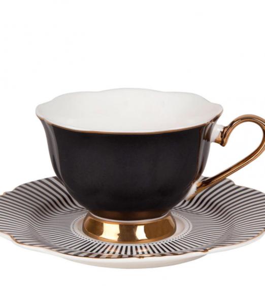 tazzina da tè grigia scuro in porcellana
