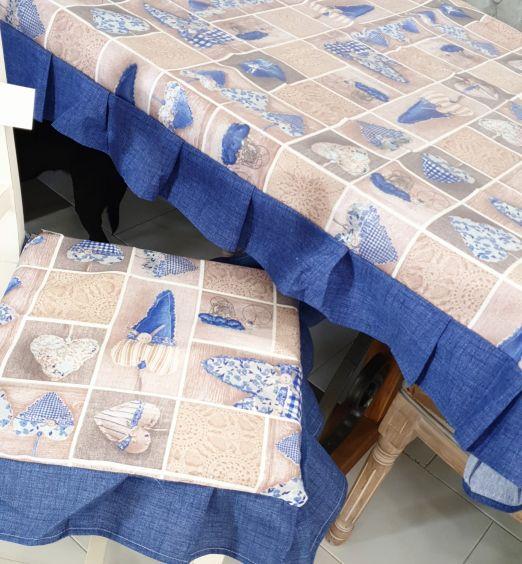 tovaglia 6 12 posti blu con cuori