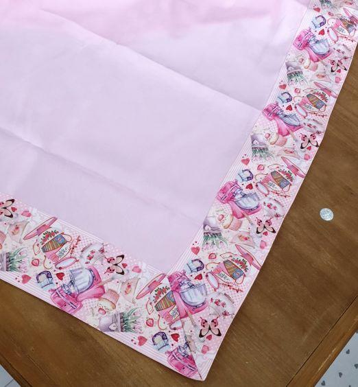 tovaglietta da tavola tessuto fiori rosa