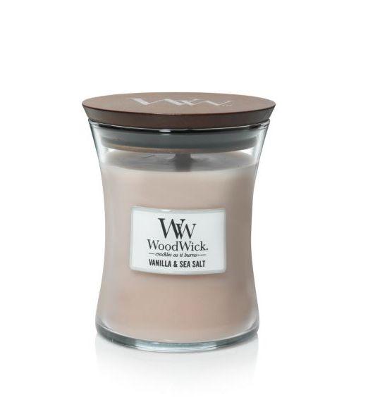 Woodwick Giara piccola vanilla e sea salt