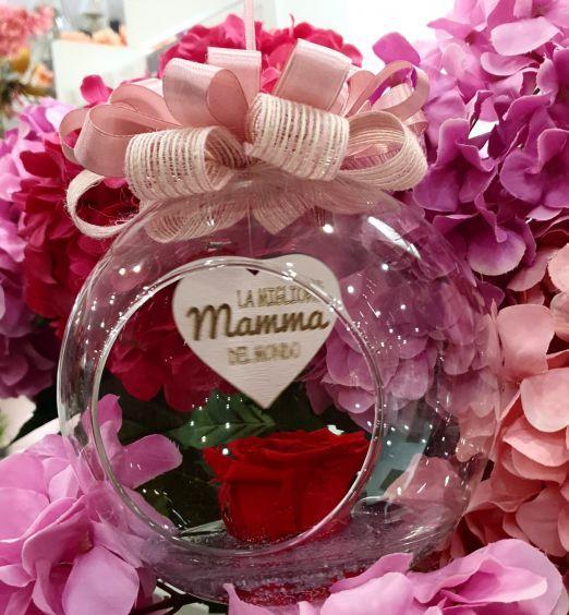 Ampolla in vetro con rosa stabilizzata rosa per festa della mamma