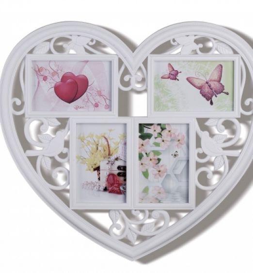 Portafoto cuore decorato con 3 cornici