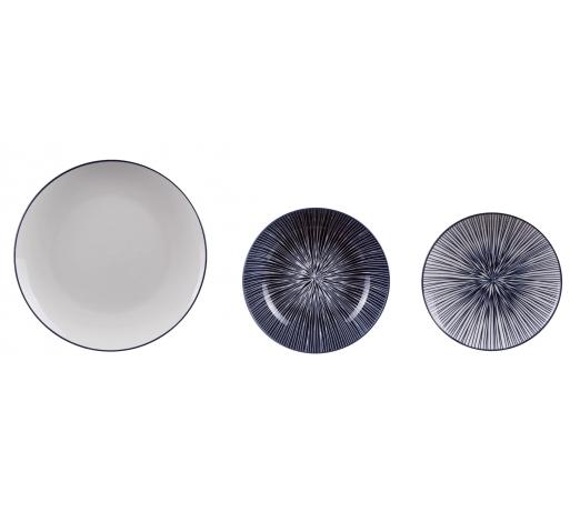 Servizio da 18 piatti blu bianco in ceramica decorati 63974