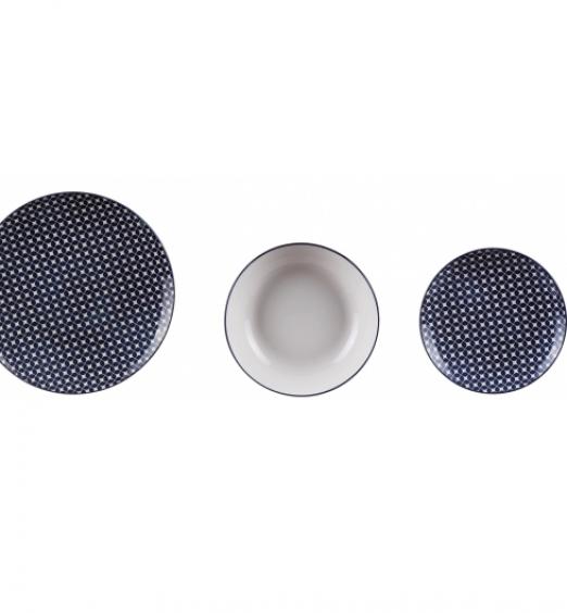 Servizio da 18 piatti blu bianco in ceramica 63975