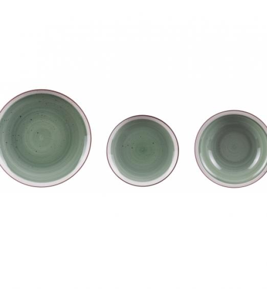 Servizio piatti in ceramica 18 pezzi verde bordi bianchi 67045