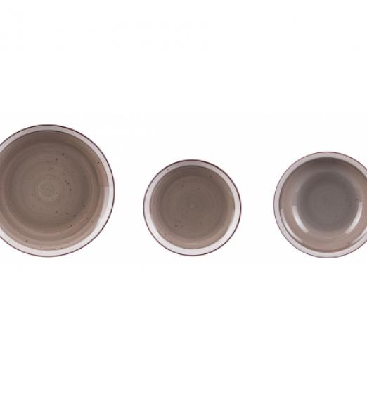 Servizio piatti in ceramica 18 pezzi grigio bordi bianchi 67046