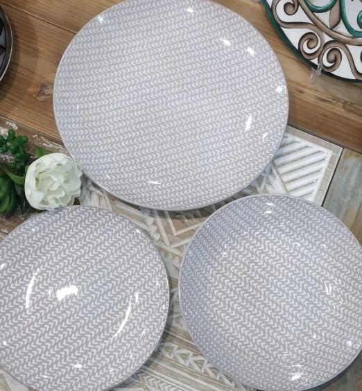 Set di piatti in ceramica da 18 piatti beige bianco 67055