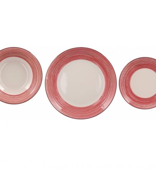 Servizio piatti in ceramica 18 pezzi decoro rosso 71498