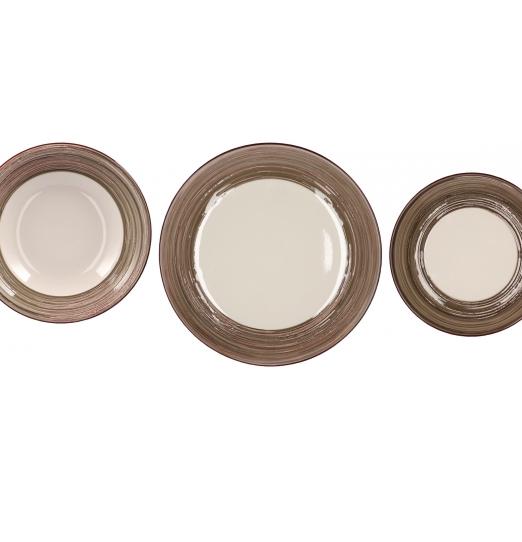 Servizio piatti in ceramica 18 pezzi Marrone 71500