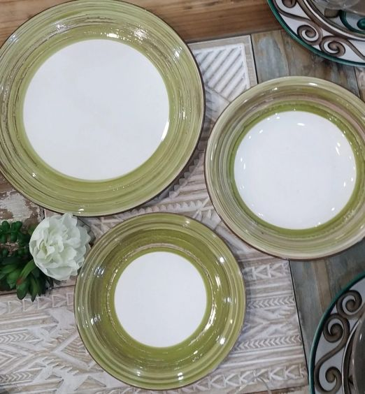Servizio piatti in ceramica da 18 pezzi verdi bianco 71501