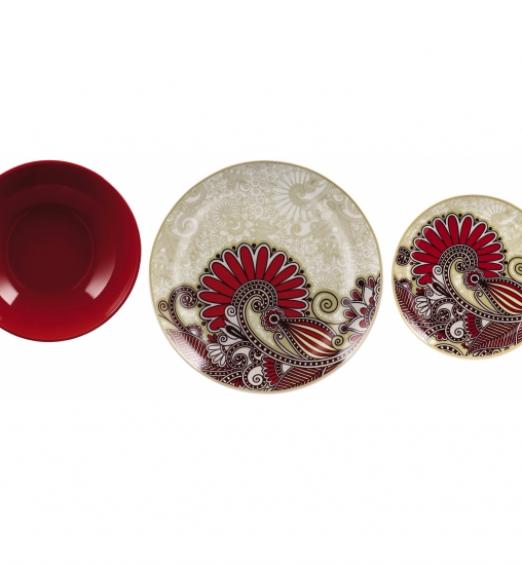 Set di piatti da 18 pezzi piano, fondo, frutta decoro ceramica rosso 71505