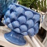 Portavaso in ceramica blu artigianale decorata pigna
