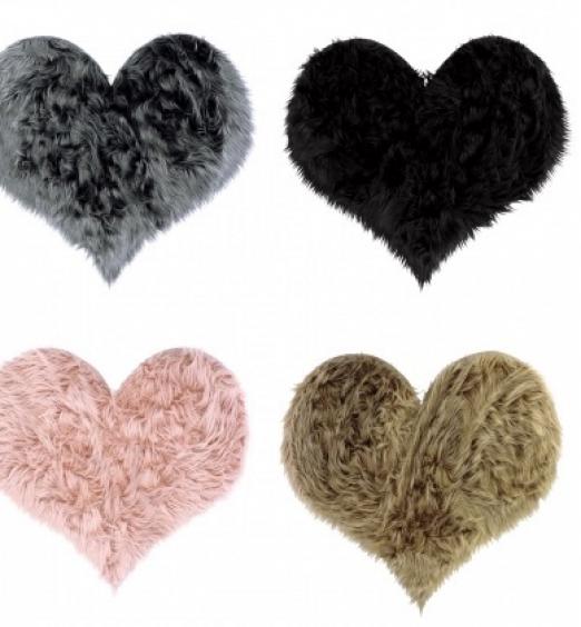 Tappeto in tessuto Furry peloso a Cuore 4 colori 74431