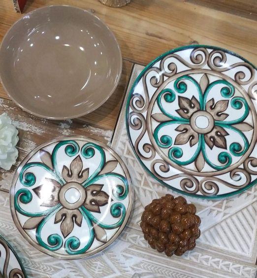 Servizio piatti in ceramica 18 pz-marrone
